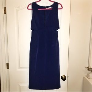 Alice + Olivia Blue V-Neck Cutout MIdi Dress US 12